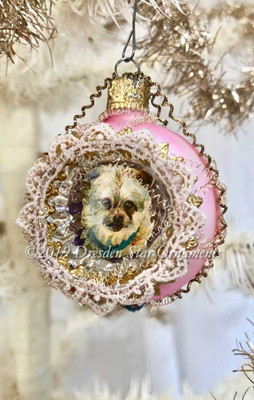Adorable little Terrier Dog in Lace-edged Pink Indent