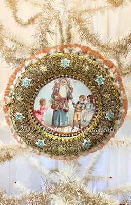 Santa with Children on Christmas Morning Wreathed in Antique Tinsel and Jeweled Stars