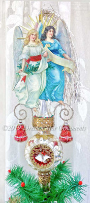 Twin Angels on Glorious Silver 3-Sided Glass Spire Topper or Ornament with Christmas Bells in Each Indent