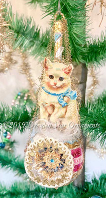 White Pussycat on Fancy Frosted Glass Indent Ornament with Tatted Lace & Jeweled Star