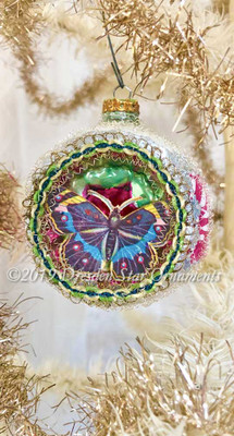 Multi-colored Butterfly on Frosted Glass Indent Ornament with Iridescent Center