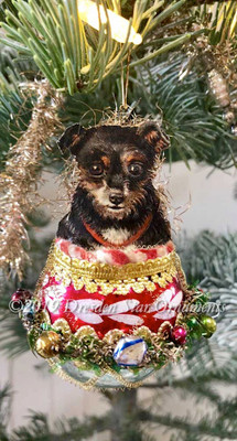 Adorable Little Dog in Glass Basket Ornament with Festive Garland Decorated with Glass Beads
