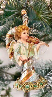 Angel Playing Violin on Dainty Silver Horn Candy-striped with Soft Gold, Green, and Orange Accents