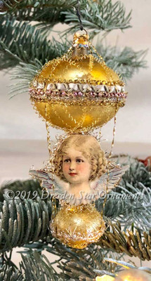 Blonde Angel with Lavender Wings on Antique Double-Balloon Ornament
