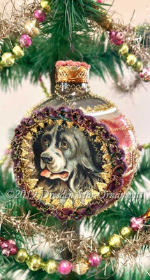 Black and White Dog inside Peach and Silver Indent with Fancy Multicolored Metallic Trim