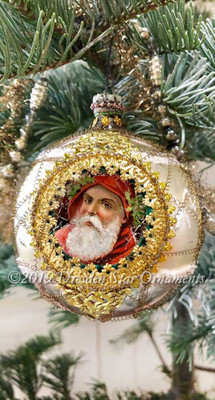3-Sided Elaborate Gilded Silver Indent Ornament with Santas Framed in Embossed Paper and Glass Beads