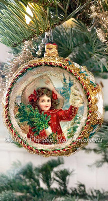 Winter Girl in Red Coat on Rare Exquisite Large Blue and White Frosted Indent Ornament