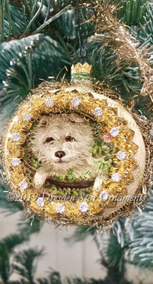 Cute Little Dog Peeking out From Frosted Silver Indent Ornament