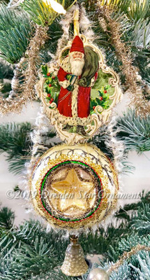 Old-World Father Christmas in Gilded Die-cut Frame on Fancy 3-sided Star Ornament with Ringing Bell