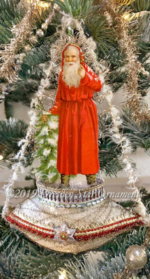 Snowy Santa in Soft Red Coat in Frosted Antique Glass Boat Ornament with Rare Chenille Rigging