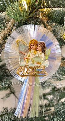 Christmas Musical Angels on Rare Multi-Colored Spun-Glass Comet Ornament
