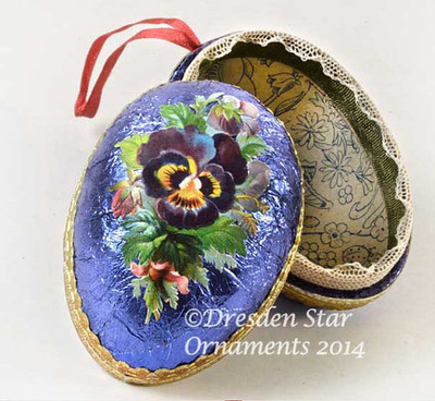 2-Sided Blue-Violet Foiled Paper Egg Container with Purple Pansies DR3S401