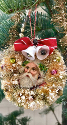 Snowy Santa Tucked Inside Midcentury Ivory Bottlebrush Wreath with Twin Bells.