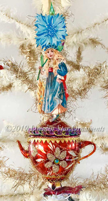 Reserved for Susan – Victorian Maiden on Copper-Colored Glass Teapot Clip-on Ornament