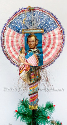 Reserved for Stacy – Lincoln & Lady Liberty on Patriotic Cigar Fan Topper/Ornament
