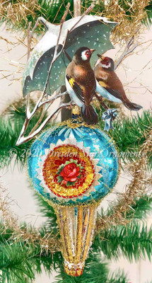 Two Wintry Birds Sharing Umbrella on Indented Glass Spindle Ornament