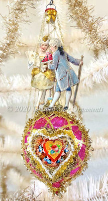 Children in 18th Century Costumes on Beautiful Gilded Heart-Shaped Oval Indent
