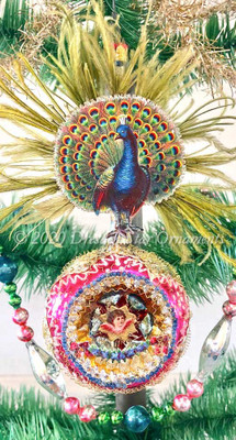 Peacock with Real Feathers on Opulent Indent Ornament with Diorama Center