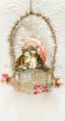 Tabby Kittens Under Pink Umbrella on Rare Antique Embossed Glass Bead Ornament