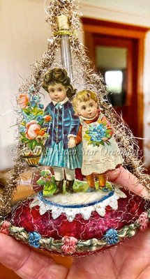 Little Girls with Flowers Holding Hands on Antique Red Boat Edged with Silk Ribbon Flowers