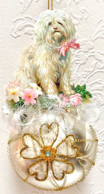 White Longhaired Dog with Fabric Flowers on Pretty Decorated Sphere Ornament