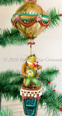 Fabulous Courting Frog Green in Outrageously Fun Green and Gold Hot Air Balloon