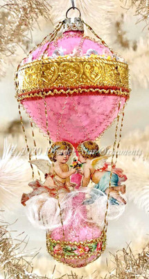 Romantic Angels on Pink and Gold Double-Balloon