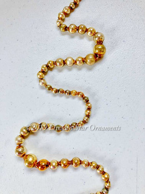 Reserved For Dennis - Vintage Gold Glass Graduated Bead Garland  – 9 ft length