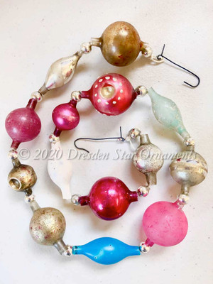 Victorian Glass Bead Garland Made with Antique Beads – 2 Ft length BV20005
