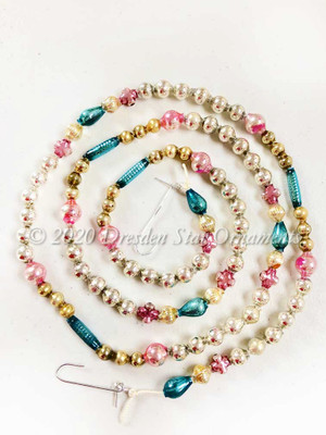 Delicate Vintage Multicolored Glass Bead Garland in Royal Blue, Pastel Pink, Gold, Silver – 3 Foot Length