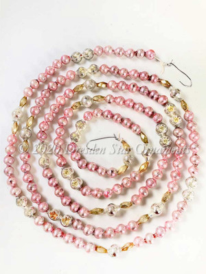 Deluxe Vintage Multicolored Glass Bead Garland in Light Pink, Silver, Gold – 6 Foot Length