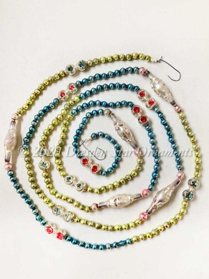 Unique Vintage Multicolored Glass Bead Garland in Light Green, Aqua Blue, Light Pink, Silver – 6 Foot Length BM20004