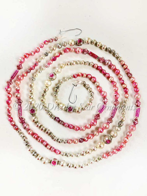 Gorgeous Vintage Multicolored Pink & Sliver Glass Bead Garland Accented with Unique Beads – 6 Foot Length