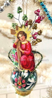 Young Jesus with Cross on Dainty Glass Urn Ornament with Glass Beads decorations