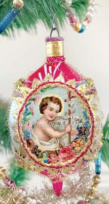 Christ with Lamb in Magenta and White Mid-Century Oval Ornament Accented with Gold