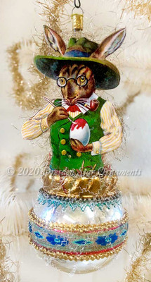 Reserved for Gabrielle Egg-Painting Bunny in Dapper Green Hat on Silver Egg with Antique Blue Silk Ribbon