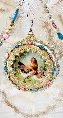 Very Large Indent Ornament with Chickens and antique French Ribbon Trim with Silk Flowers