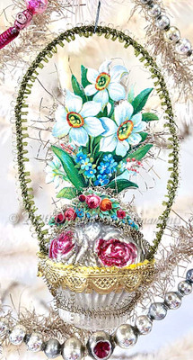 Antique Glass Flower Basket with Daffodils, Roses and Delicate Handle