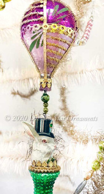 White Rabbit in Top Hat Riding Purple Hot Air Balloon with Green Bumpy Bell