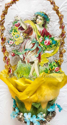 Dancing Maiden with Spring Flowers inside Rare Crepe Paper Rose Basket