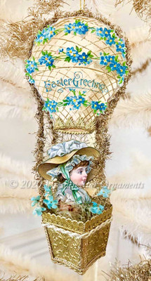 All Paper 3-D Easter Balloon with Gold Dresden Paper Basket and Victorian Girl Wearing Bonnet