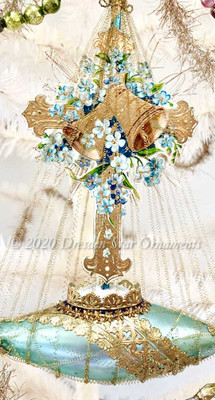 Gold Embossed Easter Cross with Bells and Forget-Me-Nots on Gilded Blue Ship