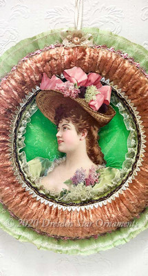 Breathtaking Victorian Lady with Straw Hat and Flowers In Large Peach Chenille Wreath