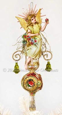 Angel with Flower Basket & Golden Wings on Fancy Triple Indent Spire Topper with Green Bells