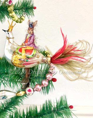 Reserved for Gabrielle - Jaunty Rabbit Riding Outlandish Peacock Clip-On Ornament