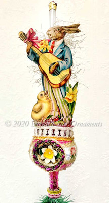 Reserved for Gabrielle - Guitar-Playing Rabbit with Singing Chick on Magenta Indent Topper with Daffodil Center