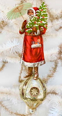Reserved for Nicole – Large Red Santa with Parasol on Fancy Glass Spindle
