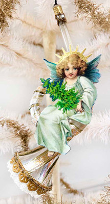 Reserved for Nicole – Christmas Angel on Beautifully Decorated Silver Horn Ornament