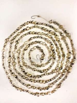 Reserved for Michaele - Fancy Vintage & Antique Silver Glass Bead Garland – 9 ft length