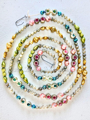 Reserved for Michaele - Fancy Vintage Multicolored Glass Bead Garland in Pastel Pink, Gold, Light Green, Blue, Silver – 6 Foot Length